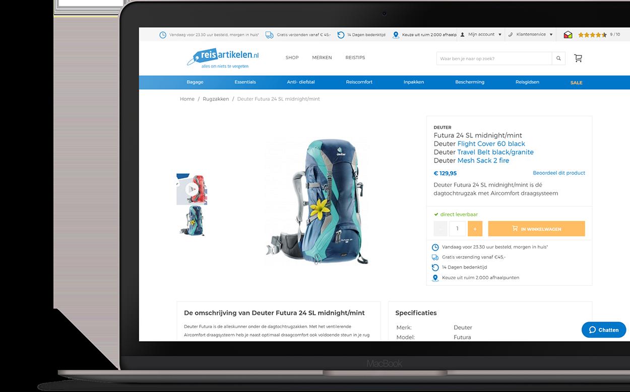 Professioneel en responsive design webshop reisartikelen